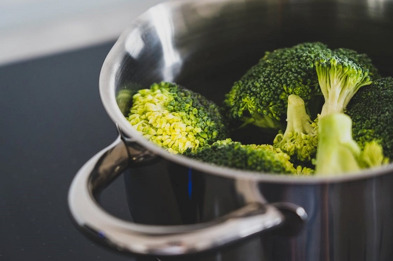 Green Broccoli in Stainless Steel Cooking Pot